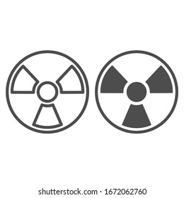 Radiation line and solid icon. Toxic and nuclear energy, danger hazard symbol, outline style pictogram on white background. Military sign for mobile concept and web design. Vector graphics