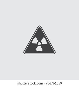 Radiation sign icon in a flat design in black color. Vector illustration eps10