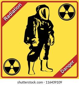 Radiation suit - sign radiation. Danger.
