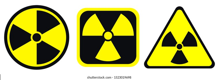 Radiation warning black and yellow signs in circle, square and triangle shape. Radioactivity warning vector symbol isolated on white background.