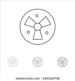 Radiation, Warning, Medical, Fan Bold and thin black line icon set