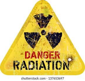 radiation warning, weathered sign, dangerousness of atomic energy