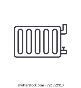 radiator steel panel vector line icon, sign, illustration on background, editable strokes