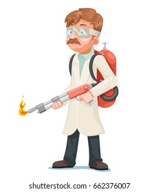 Radical cleaning mad scientist flamethrower cleansing purification by fire destruction science cartoon character isolated icon vector illustration