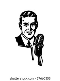 Radio Announcer - Retro Clip Art