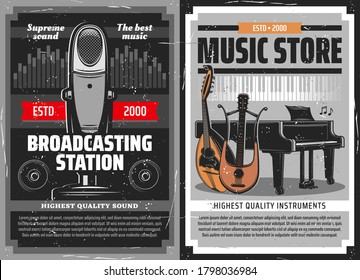 Radio broadcast poster, music instruments store, vector retro microphone of and piano. Broadcasting and DJ radio station live music FM podcast, classical concert, orchestra and folk instruments shop