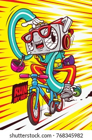 radio cartoon character bike