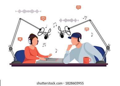 Radio DJ Man And Woman Vector. Broadcasting. Radio host behind a desk speaks into the microphone on the air. Modern Radio Station Studio. Vector illustration in flat style
