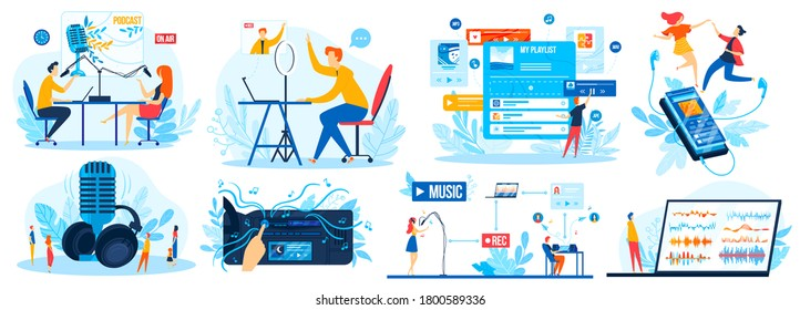 Radio DJ station vector illustration set. Cartoon flat man woman characters listen audio news or music, radio host broadcasting and communicate with listeners on studio voice DJ show isolated on white