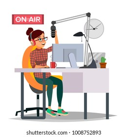 Radio DJ Woman Vector. Broadcasting. Modern Radio Station. Female Speak Into The Microphone. On Air. Broadcasting. Isolated Flat Cartoon Illustration