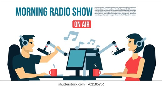 Radio dj`s male & female life playing the music & talk  On Air Broadcasts cool flat design illustration. Banner, poster, or flyer cover
