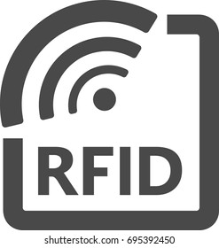 Radio Frequency Identification symbol in black and white. RFID tag icon.