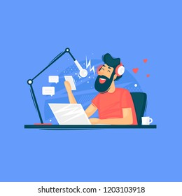 Radio host, broadcasts, a man sits with a laptop and microphone. Flat design vector illustration