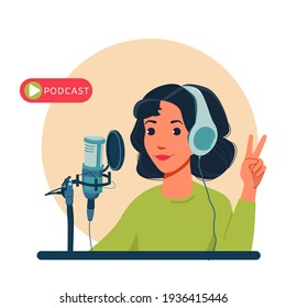 Radio host with table flat vector illustration. Media hosting doodle drawing. Female podcaster holding nameplate with podcast inscription, broadcaster at workspace isolated cartoon character.