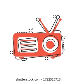 Radio icon in comic style. Fm broadcast cartoon vector illustration on white isolated background. Radiocast splash effect business concept.