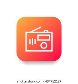 Radio icon vector, clip art. Also useful as logo, square app icon, web UI element, symbol, graphic image, silhouette and illustration. Compatible with ai, cdr, jpg, png, svg, pdf and eps formats.