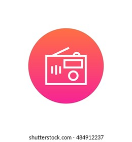 Radio icon vector, clip art. Also useful as logo, circle app icon, web UI element, symbol, graphic image, silhouette and illustration.