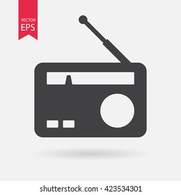 Radio icon vector, Old retro Receiver waves, tuner sign Isolated on white background. Trendy Flat style for graphic design, logo, Web site, social media, UI, mobile app, EPS10