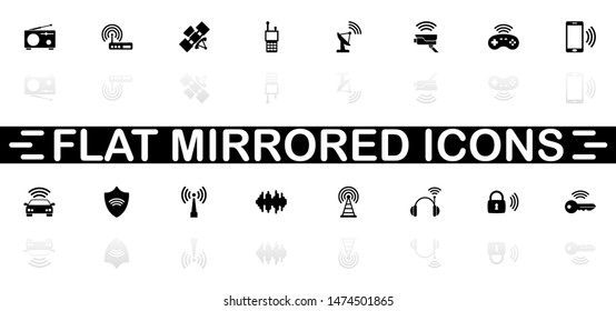 Radio icons - Black symbol on white background. Simple illustration. Flat Vector Icon. Mirror Reflection Shadow. Can be used in logo, web, mobile and UI UX project.