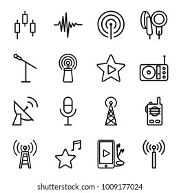 Radio icons. set of 16 editable outline radio icons such as signal tower, microphone, control panel, transmitter, signal, radio, music equalizer, phone and earphones
