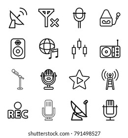 Radio icons. set of 16 editable outline radio icons such as microphone, control panel, transmitter, rec, radio, favorite music, international music, satellite, speaker