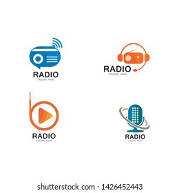 Radio logo template vector icon illustration design