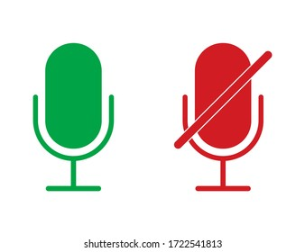 Radio microphone icons in red and green colors. Isolated record equipment. Sound mic for karaoke. Broadcast symbol. Retro microphone with mute icon. Voice recorder. Vector EPS 10