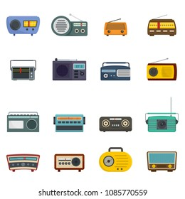 Radio music old device icons set. Flat illustration of 16 radio music old device vector icons isolated on white