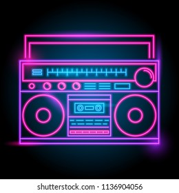 radio neon logo. glow in the dark. electric theme season. party night club. vector eps10.