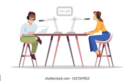 Radio news flat vector illustration. Live podcast, broadcasting. On air concept. Radio DJs in headsets with microphones at studio isolated cartoon characters. Presenters, journalists working