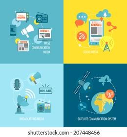 Radio newspaper live tv concept flat business icons set of mass communication social broadcasting for infographics design web elements vector illustration