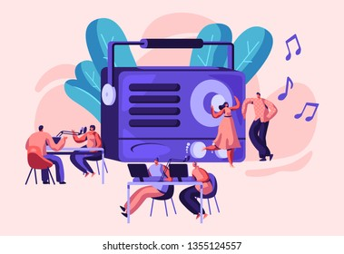 Radio Personality On-air Banner. Introduce and Play Individual Selection of Record Music. Host Talk Show, Interviews Celebrity or Guest. Listener, Character Dance. Flat Cartoon Vector Illustration