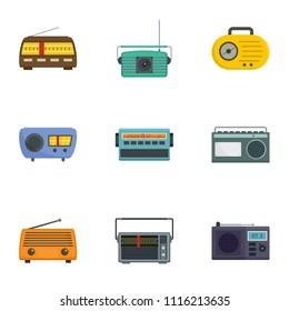 Radio receiving station icons set. Cartoon set of 9 radio receiving station vector icons for web isolated on white background