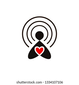 Radio receiving station. Pictogram of a human figure with a heart. The icon of the donor, a volunteer philanthropist. Hand drawn vector illustration isolated on white, logo, t-shirt design