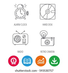 Radio, retro camera and alarm clock icons. Hard disk linear sign. Award medal, growth chart and opened book web icons. Download arrow. Vector