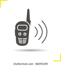 Radio set icon. Drop shadow silhouette symbol. Portable communication device. Isolated black illustration. Walkie talkie receiver. Logo concept. Vector