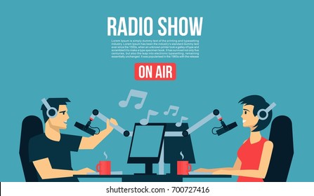 Radio show dj`s male & female life playing the music & talk  On Air Broadcasts cool flat design illustration. Banner, poster, or flyer cover
