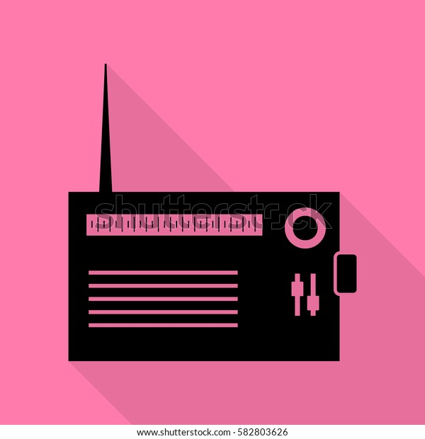 Radio sign illustration. Black icon with flat style shadow path on pink background.