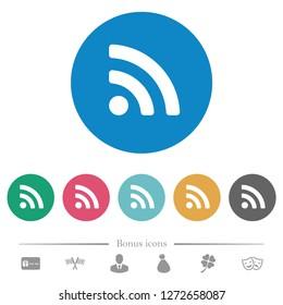 Radio signal flat white icons on round color backgrounds. 6 bonus icons included.