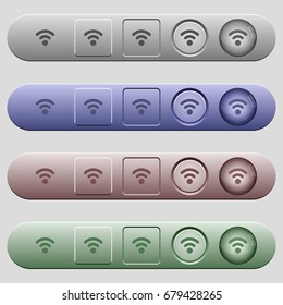 Radio signal icons on rounded horizontal menu bars in different colors and button styles