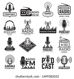 Radio station logo. Music studio podcast speaker vector badges collection