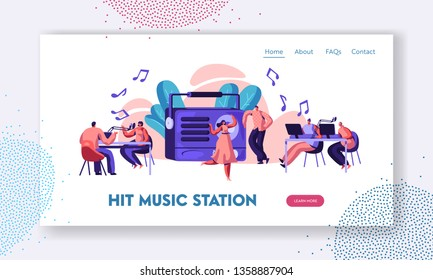 Radio Station Show Playing Music Landing Page. Presenter with Microphone and Headset in Record Studio. Woman in Dress Dancing to Song Website or Web Page. Flat Cartoon Vector Illustration