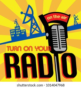 Radio station tower broadcast poster or illustration. Vector.