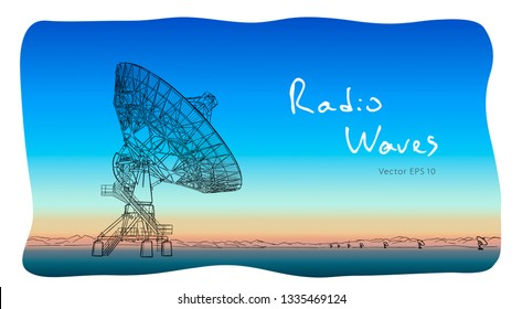 Radio telescope dishes antenna. Vector sketch draw