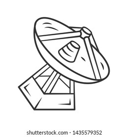 Radio telescope linear icon. Antenna and radio receiver. Parabolic antenna. Tracking satellites. Thin line illustration. Contour symbol. Vector isolated outline drawing. Editable stroke