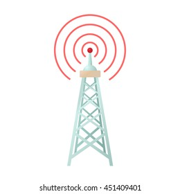 Radio tower icon in cartoon style on a white background