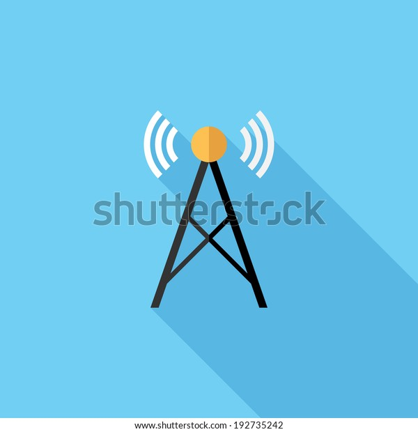 Radio Tower Icon Flat Design Style Stock Vector (Royalty