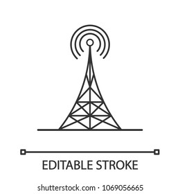 Radio tower linear icon. Thin line illustration. Antenna. Contour symbol. Vector isolated outline drawing. Editable stroke