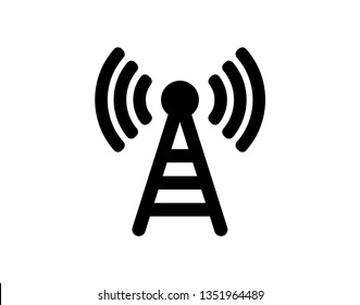 Radio tower / mast with radio waves for broadcast transmission line art vector icon for apps and websites - Vector
