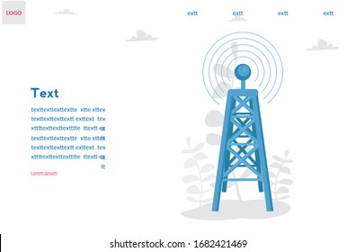 Radio tower  Vector illustration for web banner, infographics, mobile